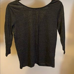 Grey J Crew Knit Top with Tie Back